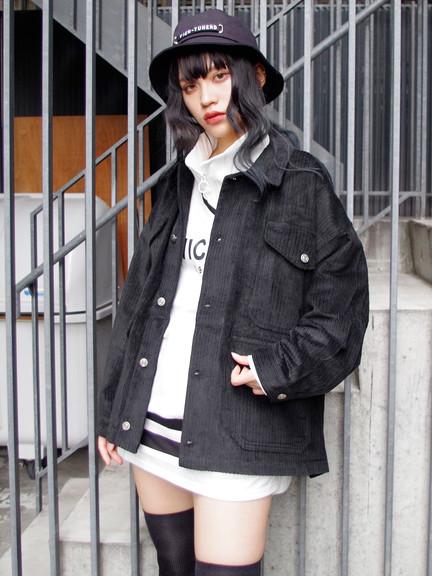 ★関西コレクション越智ゆらの着用★コーデュロイカバージャケット(ブラック)